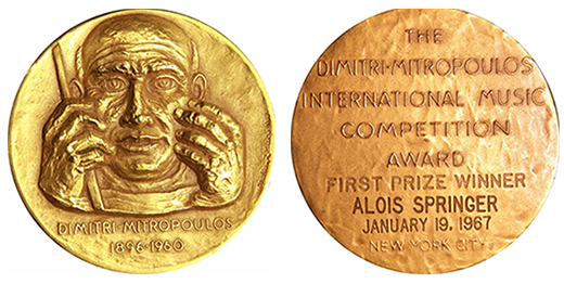 La médaille d'or du Mitropoulos Music Competition Award